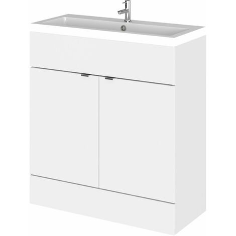 Hudson Reed Fusion Floor Standing Vanity Unit with Basin 800mm Wide - Gloss White