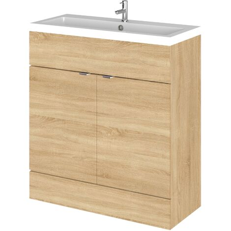 Hudson Reed Fusion Floor Standing Vanity Unit with Basin 800mm Wide - Natural Oak