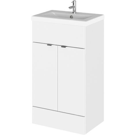Hudson Reed Fusion Floor Standing Vanity Unit with Ceramic Basin 500mm Wide - Gloss White