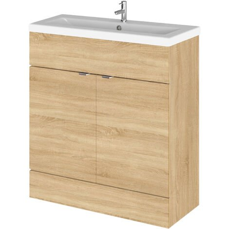 Hudson Reed Fusion Floor Standing Vanity Unit with Ceramic Basin 800mm Wide - Natural Oak