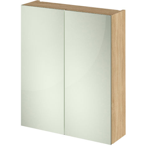 Hudson Reed Fusion Furniture Mirrored Cabinet (50/50) 600mm Wide - Natural Oak