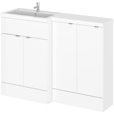 Hudson Reed Fusion LH Combination Unit with 300mm Base Unit - 1200mm Wide - Gloss White