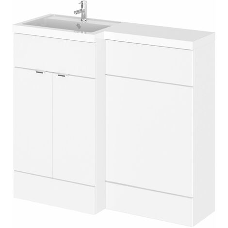 Hudson Reed Fusion LH Combination Unit with 500mm WC Unit - 1000mm Wide - Gloss White