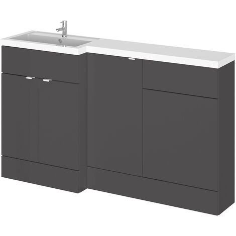 Hudson Reed Fusion LH Combination Unit with 500mm WC Unit - 1500mm Wide - Gloss Grey