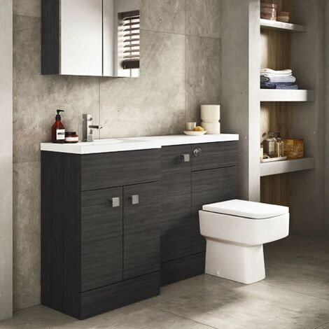 Hudson Reed Fusion LH Combination Unit with 500mm WC Unit - 1500mm Wide - Hacienda Black