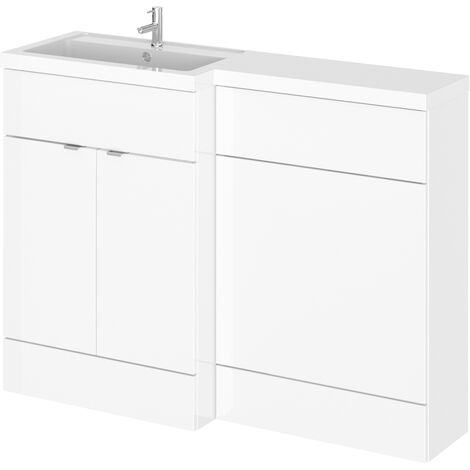 Hudson Reed Fusion LH Combination Unit with 600mm WC Unit - 1200mm Wide - Gloss White