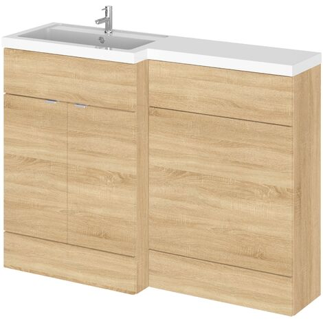 Hudson Reed Fusion LH Combination Unit with 600mm WC Unit - 1200mm Wide - Natural Oak