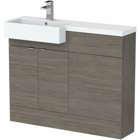 Hudson Reed Fusion LH Combination Unit with Square Semi Recessed Basin 1100mm Wide - Brown Grey Avola