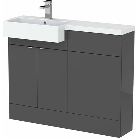 Hudson Reed Fusion LH Combination Unit with Square Semi Recessed Basin 1100mm Wide - Gloss Grey