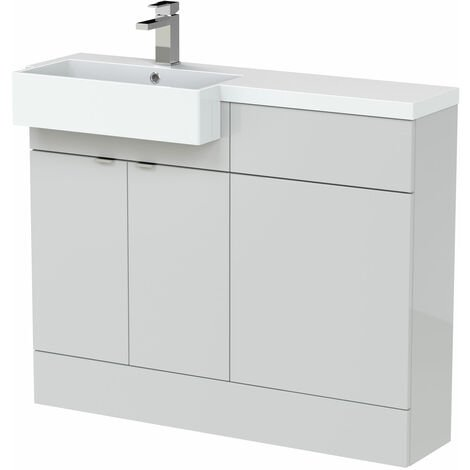 Hudson Reed Fusion LH Combination Unit with Square Semi Recessed Basin 1100mm Wide - Gloss Grey Mist