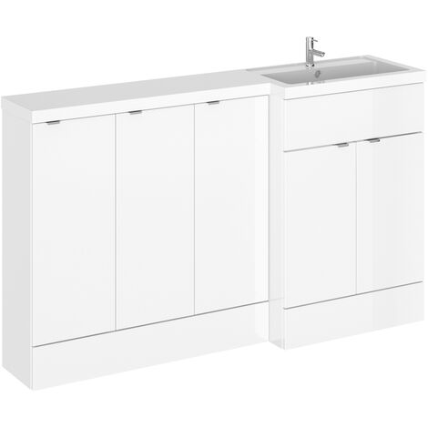 Hudson Reed Fusion RH Combination Unit with 300mm Base Unit x 3 - 1500mm Wide - Gloss White