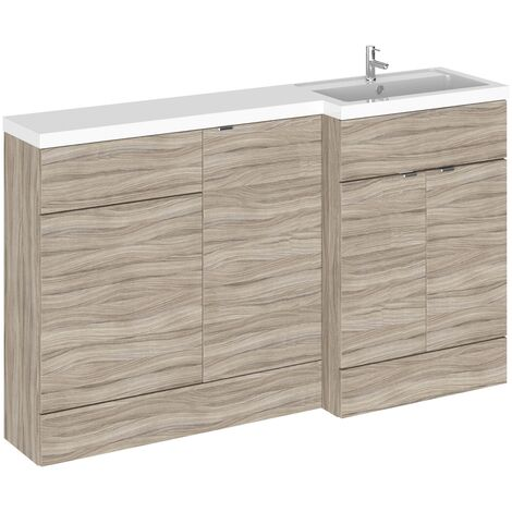 Hudson Reed Fusion RH Combination Unit with 500mm WC Unit - 1500mm Wide - Driftwood