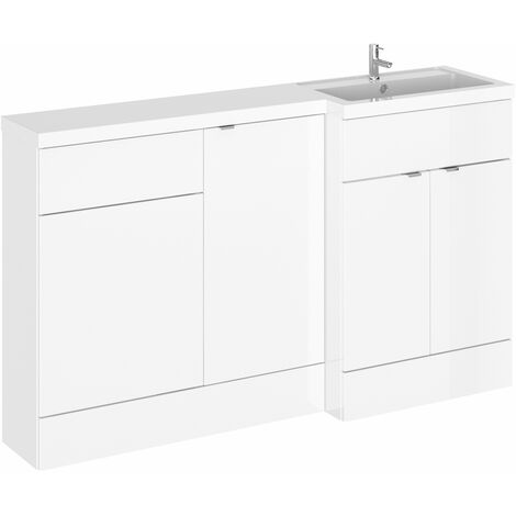 Hudson Reed Fusion RH Combination Unit with 500mm WC Unit - 1500mm Wide - Gloss White
