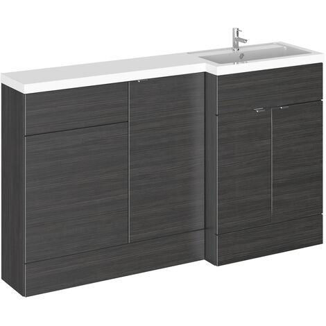 Hudson Reed Fusion RH Combination Unit with 500mm WC Unit - 1500mm Wide - Hacienda Black