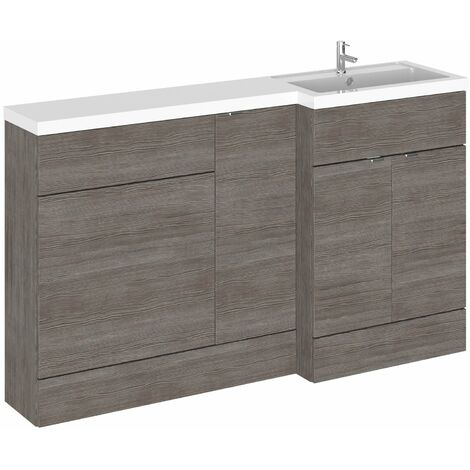 Hudson Reed Fusion RH Combination Unit with 600mm WC Unit - 1500mm Wide - Brown Grey Avola