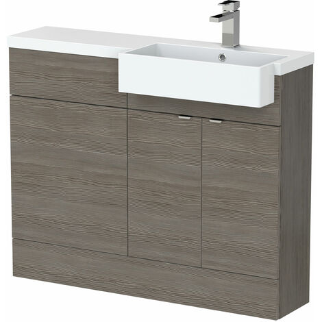 Hudson Reed Fusion RH Combination Unit with Square Semi Recessed Basin 1100mm Wide - Brown Grey Avola