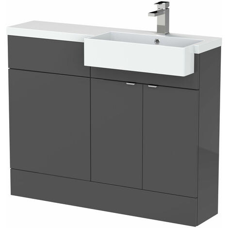 Hudson Reed Fusion RH Combination Unit with Square Semi Recessed Basin 1100mm Wide - Gloss Grey
