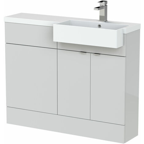Hudson Reed Fusion RH Combination Unit with Square Semi Recessed Basin 1100mm Wide - Gloss Grey Mist