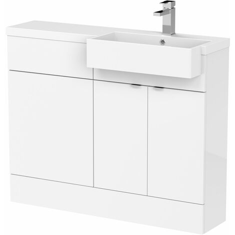 Hudson Reed Fusion RH Combination Unit with Square Semi Recessed Basin 1100mm Wide - Gloss White