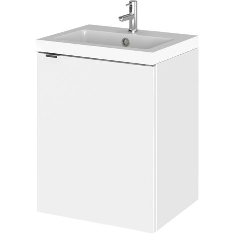Hudson Reed Fusion Wall Hung 1-Door Vanity Unit with Basin 400mm Wide - Gloss White