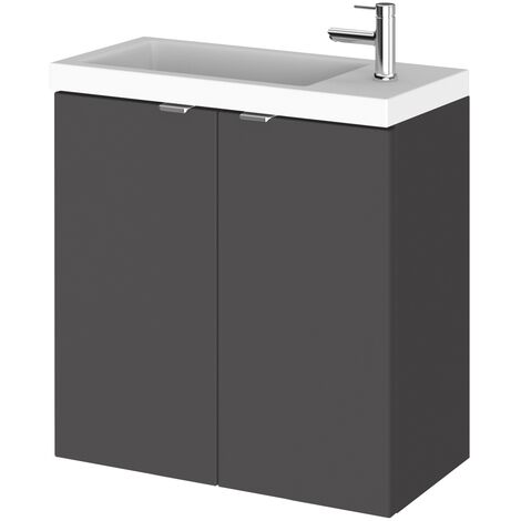 Hudson Reed Fusion Wall Hung 2-Door Vanity Unit with Compact Basin 500mm Wide - Gloss Grey