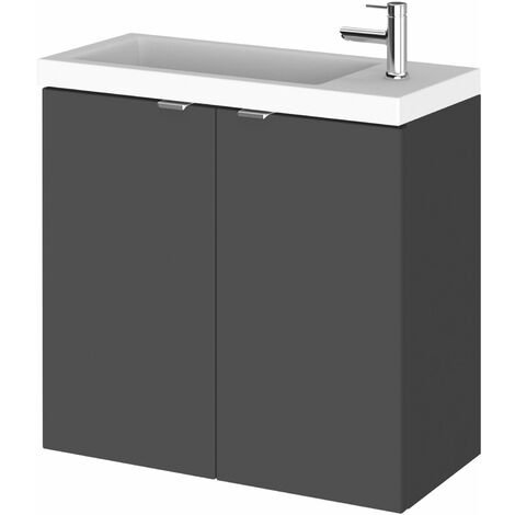 Hudson Reed Fusion Wall Hung 2-Door Vanity Unit with Compact Basin 600mm Wide - Gloss Grey