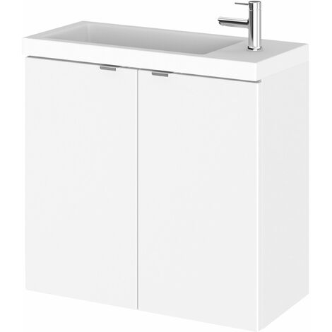 Hudson Reed Fusion Wall Hung 2-Door Vanity Unit with Compact Basin 600mm Wide - Gloss White