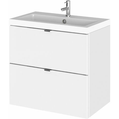 Hudson Reed Fusion Wall Hung 2-Drawer Vanity Unit with Basin 600mm Wide - Gloss White