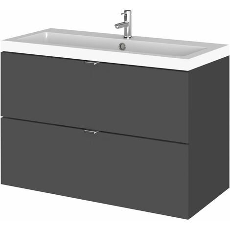 Hudson Reed Fusion Wall Hung 2-Drawer Vanity Unit with Basin 800mm Wide - Gloss Grey