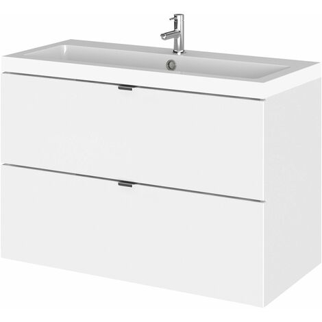 Hudson Reed Fusion Wall Hung 2-Drawer Vanity Unit with Basin 800mm Wide - Gloss White