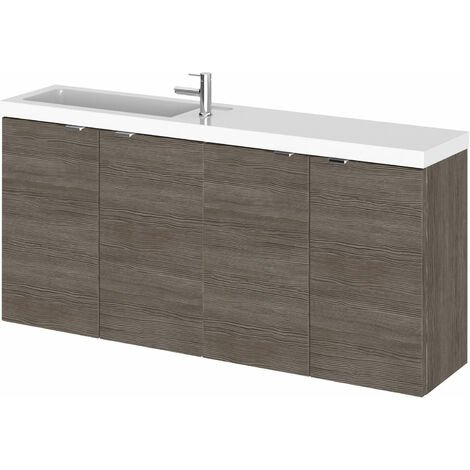Hudson Reed Fusion Wall Hung 4-Door Vanity Unit with Compact Basin 1200mm Wide - Brown Grey Avola
