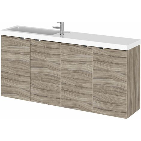 Hudson Reed Fusion Wall Hung 4-Door Vanity Unit with Compact Basin 1200mm Wide - Driftwood