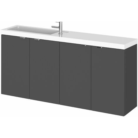 Hudson Reed Fusion Wall Hung 4-Door Vanity Unit with Compact Basin 1200mm Wide - Gloss Grey