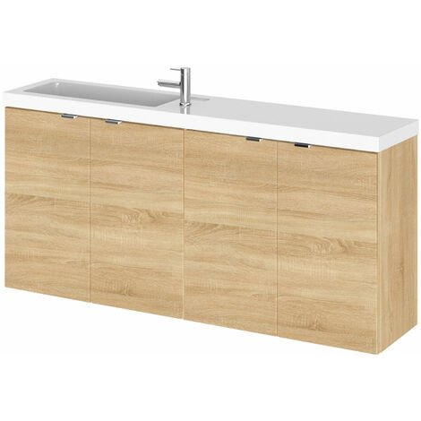 Hudson Reed Fusion Wall Hung 4-Door Vanity Unit with Compact Basin 1200mm Wide - Natural Oak
