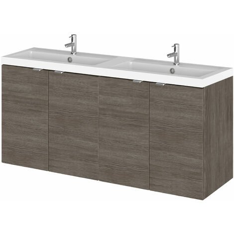Hudson Reed Fusion Wall Hung 4-Door Vanity Unit with Double Basin 1200mm Wide - Brown Grey Avola