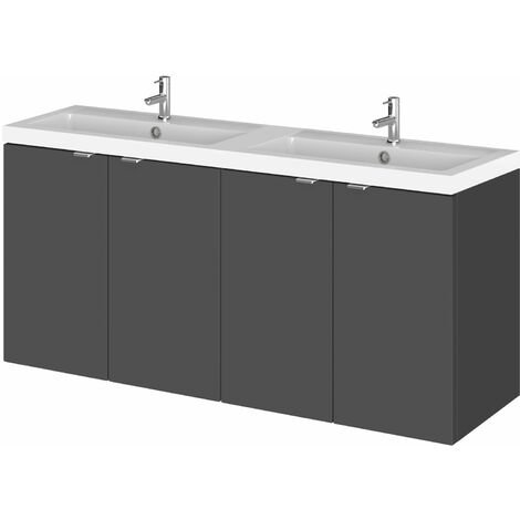 Hudson Reed Fusion Wall Hung 4-Door Vanity Unit with Double Basin 1200mm Wide - Gloss Grey