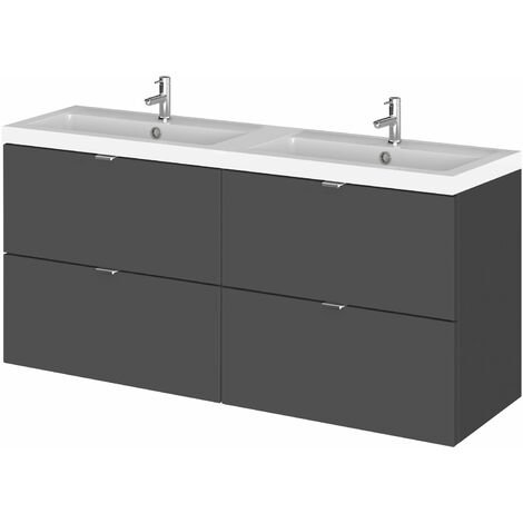 Hudson Reed Fusion Wall Hung 4-Drawer Vanity Unit with Double Basin 1200mm Wide - Gloss Grey