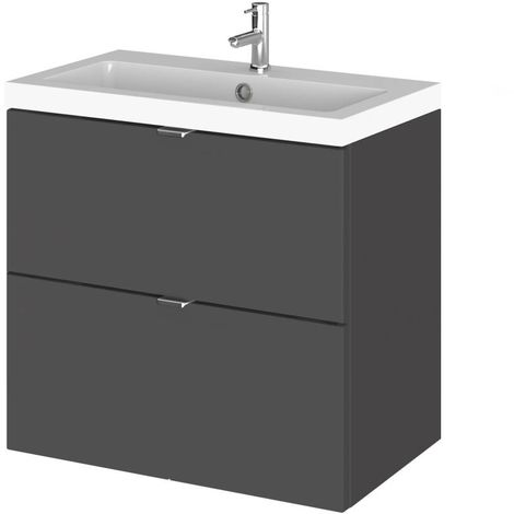 Hudson Reed Gloss Grey 600mm Wall Hung Full Depth 2 Drawer Vanity Unit with Basin - CBI930