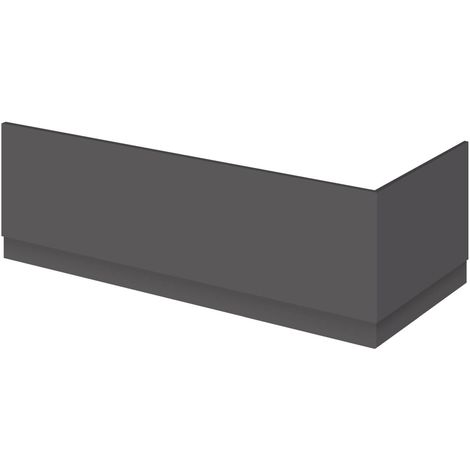 Nuie Atheana Gloss Grey 800mm End Bath Panel with Plinth - OFF972