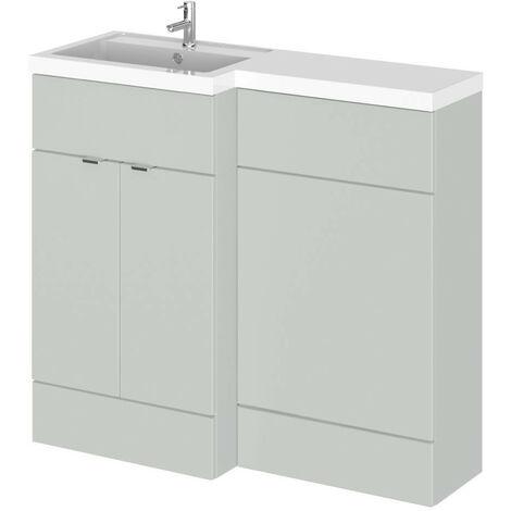Hudson Reed Gloss Grey Mist 1000mm Full Depth Combination 2 Door Vanity & Toilet Unit with Left Hand Basin - CBI426