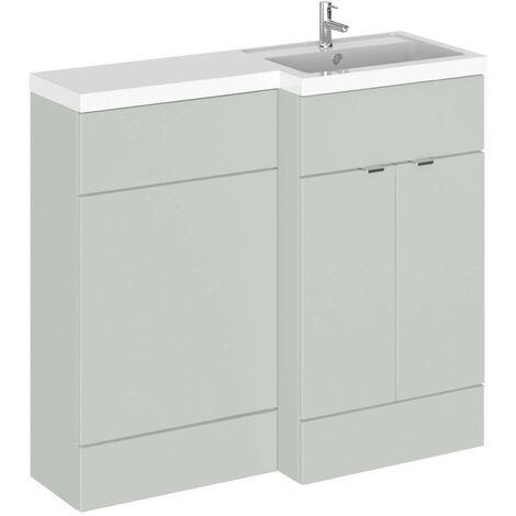 Hudson Reed Gloss Grey Mist 1000mm Full Depth Combination 2 Door Vanity & Toilet Unit with Right Hand Basin - CBI427