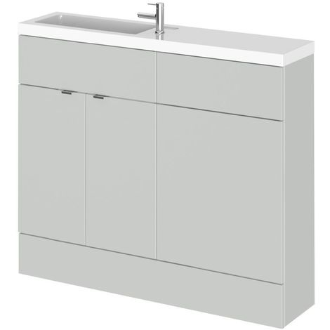 Hudson Reed Gloss Grey Mist 1000mm Slimline Combination 2 Door Vanity & Toilet Unit with Basin - CBI442