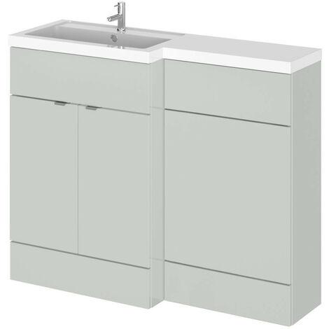 Hudson Reed Gloss Grey Mist 1100mm Full Depth Combination 2 Door Vanity & Toilet Unit with Left Hand Basin - CBI402