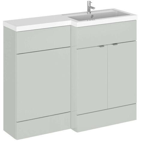 Hudson Reed Gloss Grey Mist 1100mm Full Depth Combination 2 Door Vanity & Toilet Unit with Right Hand Basin - CBI403