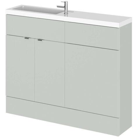 Hudson Reed Gloss Grey Mist 1100mm Slimline Combination 2 Door Vanity & Toilet Unit with Basin - CBI401