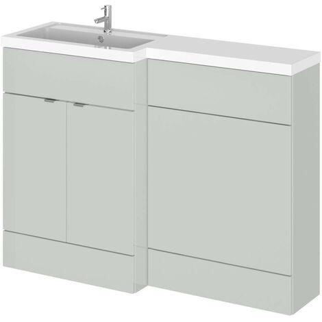 Hudson Reed Gloss Grey Mist 1200mm Full Depth Combination 2 Door Vanity & Toilet Unit with Left Hand Basin - CBI409