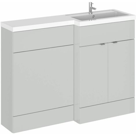 Hudson Reed Gloss Grey Mist 1200mm Full Depth Combination 2 Door Vanity & Toilet Unit with Right Hand Basin - CBI410
