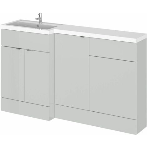 Hudson Reed Gloss Grey Mist 1500mm Full Depth Combination 3 Door Vanity Storage & Toilet Unit with Left Hand Basin - CBI415