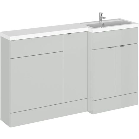 Hudson Reed Gloss Grey Mist 1500mm Full Depth Combination 3 Door Vanity Storage & Toilet Unit with Right Hand Basin - CBI414