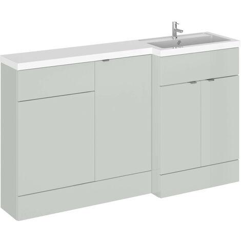 Hudson Reed Gloss Grey Mist 1500mm Full Depth Combination 3 Door Vanity Storage & Toilet Unit with Right Hand Basin - CBI416